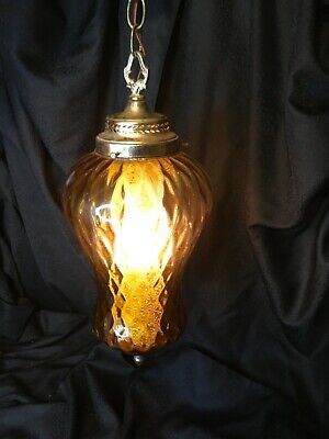 "Gothic Mid Century Spanish Tudor Swag Vintage Hanging Light Lamp Glass 18"" tall"