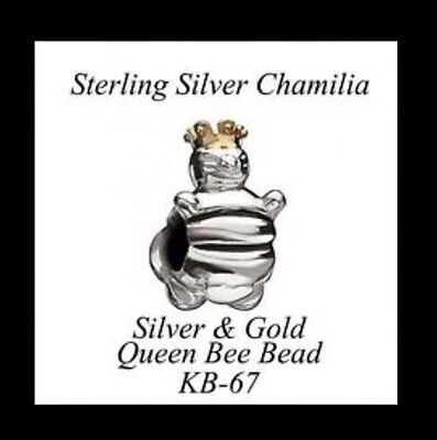 Authentic Chamilia QUEEN BEE Silver .925 & 14k Gold slide bead charm 790227 NWOT