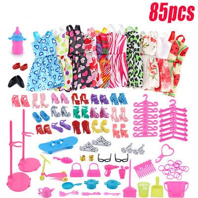 85Pcs Doll Clothes Accessories Huge Lot Party Gown Outfits Girl Gift Set