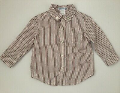 Janie And Jack Toddler Boys 12-18 Months Long Sleeve Striped Button Up Shirt