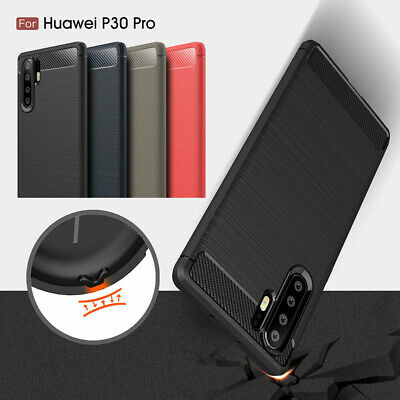Carbon Fiber Soft Silicone Shockproof Bumper Case Cover for Huawei P3 P30 Pro