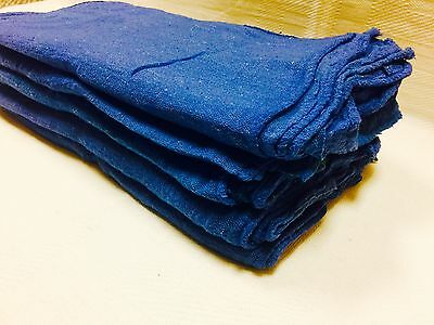 """100 Pack Industrial Commercial Blue Shop Cleaning Towel Rags 13""""X14"""""""