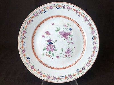 """Antique Chinese Export Floral Dinner Plate Circa 1800 9 1/8"""" Flowers Handpainted"""