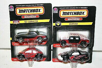 Matchbox Madness Taco Bell exclusive series '62 corvette, humvee, vw concept