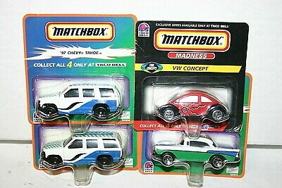 Matchbox Madness Taco Bell exclusive series  vw concept, chevy tahoe, '57 chevy