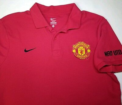 1976bfbe7ae Nike Manchester United Large S S Polo Shirt Football Soccer Man U Red Cotton
