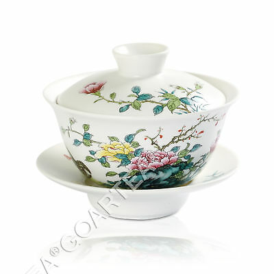 120ml Hand Paint Peony Porcelain Chinese GongFu Tea Gaiwan teacup Cup Lid Saucer