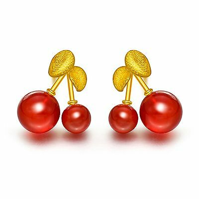 Pure 999 24K Yellow Gold Best Gift  Women Red Agate Cherry Stud Earring/ 2.1g