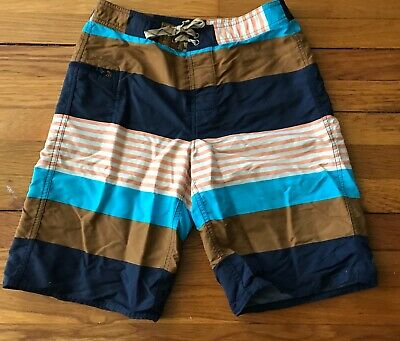 a0122718e0 BOYS PATAGONIA BOARD Shorts sz 10 Youth Striped Blue White Trunks ...