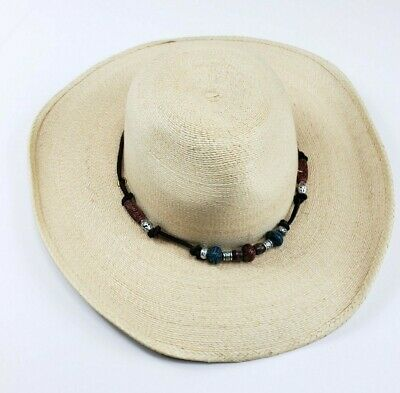 2299d453760b4 Atwood Cowboy Hat Beaded Low Crown Long Oval Women s Size Small Straw Mexico