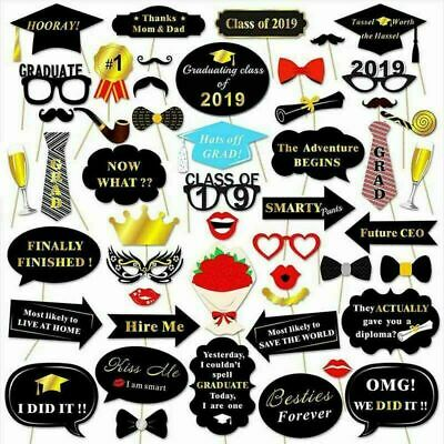 50PC Set Class Of 2019 Graduation Grad Masks Photo Booth Fun Props  Style
