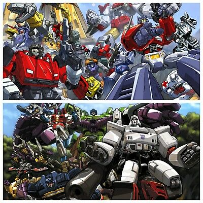 TRANSFORMERS G1 POSTER 2 Set : AUTOBOTS & DECEPTICONS! Out of Print! Rare!