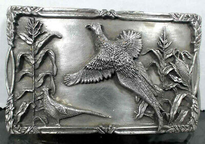 WOW Vintage Game Hunting Ring Necked PHEASANT Pewter 3D Belt Buckle Rare