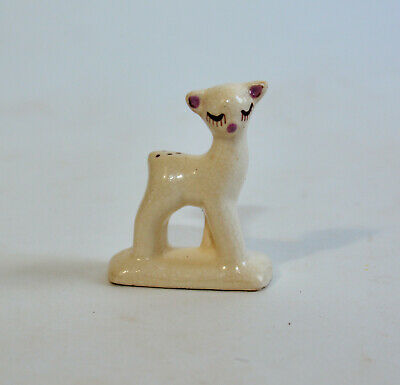 Vintage Tiny White Deer with Spots Figurine Purple Fawn Happy Cute Mini Woodland