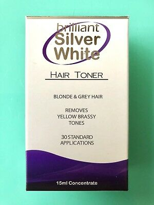 BRILLIANT SILVER WHITE HAIR TONER POST SAME DAY15ml Remove Yellow Brassy Tone