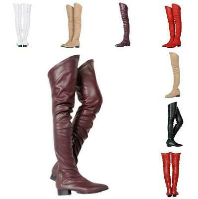 Womens Pointed Toe Over Knee Thigh High Knight Boots Low Chunky Heels Shoes D43
