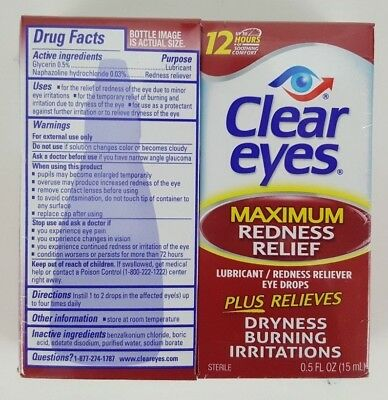 NEW Clear Eyes Maximum Redness Relief Eye Drops Lot Of 2 - 0.5 fl oz each