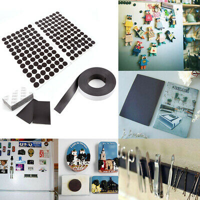 Self Adhesive Magnets Round Rectangular Rubber Magnetic Craft Dots Block 3 Sizes