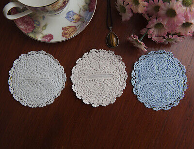 Fine Yarn Hand Crochet Lace Doily Wine Glass Base Cover Round 10CM in 3 Colours