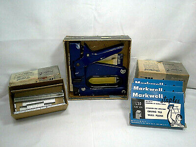 Vintage MARKWELL L3 TACKER / STAPLER WITH 2 SIZES OF STAPLES + original boxes