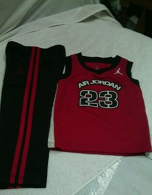 Toddler Air Jordan 23 Jumpman Shirt&Pants Boys 24 Month Red, Black & White  GUC