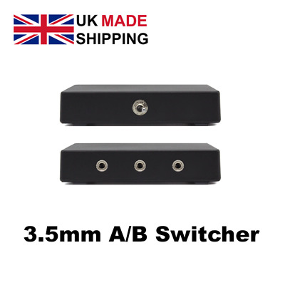 Stereo 3.5mm A/B Speaker AUX Audio Selector Switch Box 2 Way Adapter