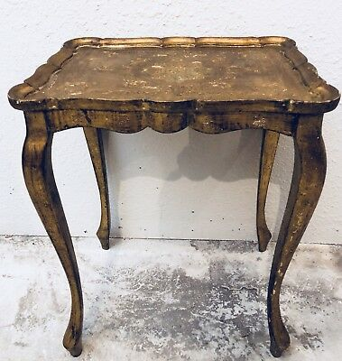 Antique Italian Florentine Gilded Cabriole Wood Carved Table Hollywood~Regency~~