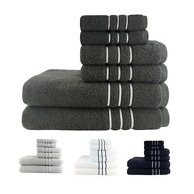 100% Luxury Egyptian Cotton Towel Sets Bath Towels Hand Towels Face Washer 6PCS