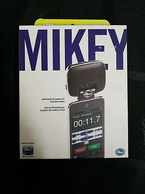 MIKEY Blue Microphone.Professional Microphone For Most iPod Models. NIB. E 30-34