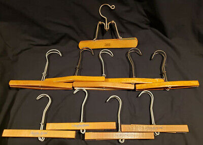 Vintage *10* Wooden Clasp Pant Skirt Hangers Perfection Branded Mixed Lot GUC!