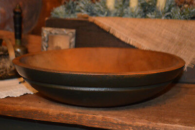 Antique 19th C PRIMITIVE PAINTED UMBER & GREEN Dough Trencher Treen Turned Bowl