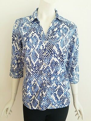 46fbea1b 212 Collection Womens Size XL Shirt Blue White Snakeskin Print Button Up Top