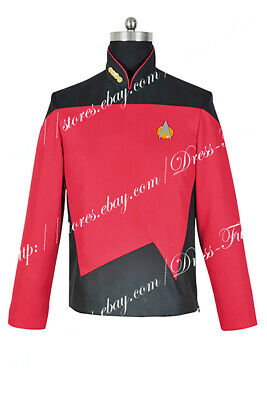 Star Trek: The Next Generation TNG Command Uniform Cosplay Costume Red Jacket