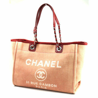 027892ca3b272b CHANEL Deauville Line Chain Shoulder Tote Bag Red Cotton Canvas Leather  A67001