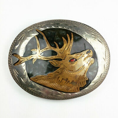 Vtg B K Hand Made Western Biker Elk Deer Coral Inlay Silver Brass Belt Buckle