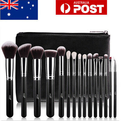 AU 15Pcs Pro Makeup Brush Set Powder Eyeshader Blend Highlight Black Brush + Bag