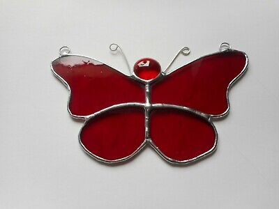 Stained Glass Red Butterfly Suncatcher or Wall Mount.
