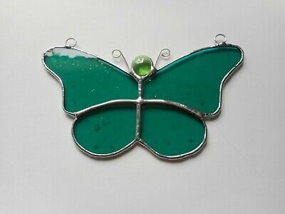 Stained Glass Green Butterfly Suncatcher or Wall Mount.