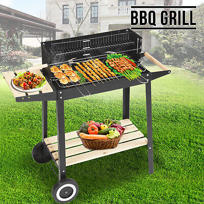 Rectangular BBQ Barbecue Steel Charcoal Grill Outdoor Patio Garden Wheels