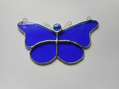 Stained Glass Blue Butterfly Suncatcher or Wall Mount.