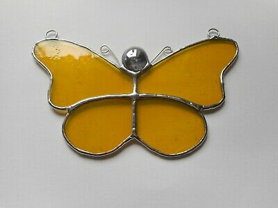 Stained Glass Yellow Butterfly Suncatcher or Wall Mount.