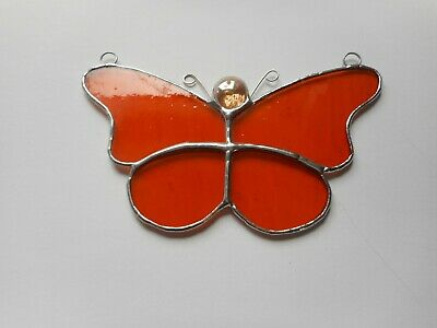 Stained Glass Orange Butterfly Suncatcher or Wall Mount.