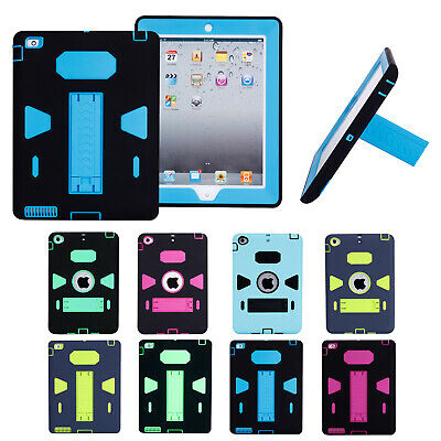 Heavy Duty Kids Safe Shockproof Rubber with Stand Hard Case Cover for Apple iPad