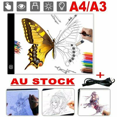 A4 A3 LED Drawing Pad Table Box Art Tattoo Stencil Board Dimmable Light Tracing