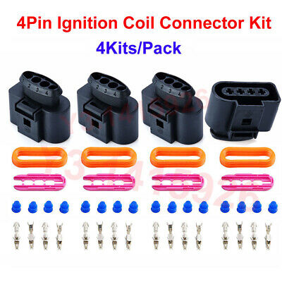 4pin lgnition coil wiring harness connector repair kit for audi a4 a6 vw  passat
