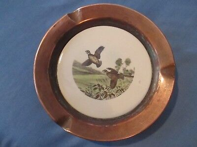 Vintage Copper and Ceramic Ashtray with Birds in Flight Motif.Bird Hunting Decor
