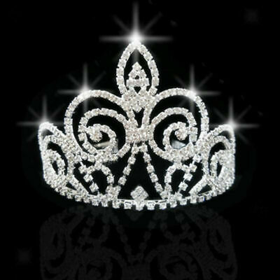 Wedding Princess Tall Pageant Rhinestone Crystal Headband Tiara Crown Silver UK
