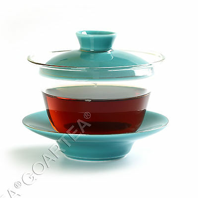 130ml Cyan Porcelain Glass Chinese GongFu Tea Gaiwan teacup cup with lid Saucer