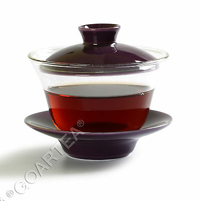 130ml Purple Porcelain Glass Chinese GongFu Tea Gaiwan teacup cup & lid Saucer
