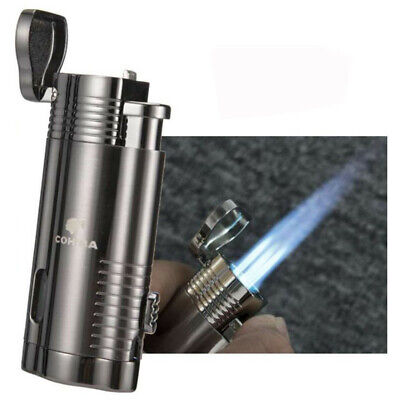 COHIBA Cigar Cigarette Metal Lighter 4 Torch Jet Flame Portable With Box Punch